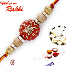 Stylish Golden Swastik Motif & Sandalwood Beads Rakhi - SW17660