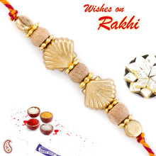 Stylish Golden Motif & Sandalwood Beads Rakhi - SW17663