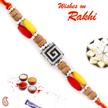 Square Motif & Sandalwood Beads Rakhi - SW17664