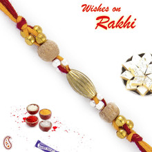 Golden Beads Dual Sandalwood Rakhi - SW17667