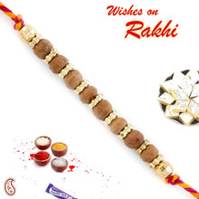Golden Beads & Sandalwood Rakhi - SW17668