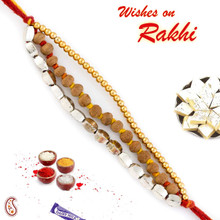 Elegant & Smart Golden Beads & Sandalwood Rakhi - SW17669