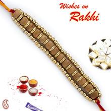 Golden Beads Sandalwood Rakhi - SW17671