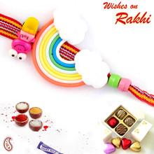 Multicolor Rainbow Style Kids Rakhi - RK17704
