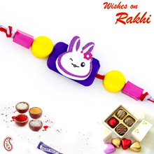 Sweet Little Multicolor Beads Embellished Kids Rakhi - RK17707