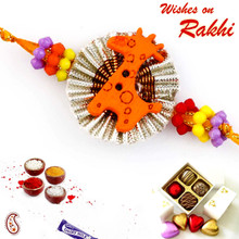 Cute Brown Giraffe Motif Kids Rakhi - RK17708