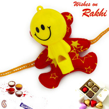 Red & Yellow Sweet Smiley Rakhi for Kids - RK17709