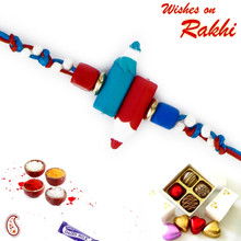 Smart Dual Pencil Motif Kids Rakhi - RK17714