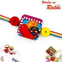 Multicolor Band Kids Rakhi With Candy Crush Motif - RK17717
