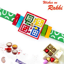 Amazing LUDO Style Kids Rakhi with Green Band - RK17718