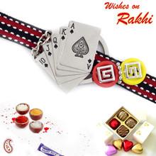Playing Card Kids Rakhi with Red & Black Wrist Band - RK17720