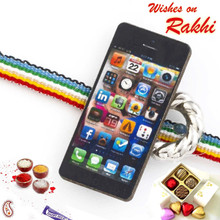Multicolor Band Kids Rakhi with Mobile Motif - RK17738