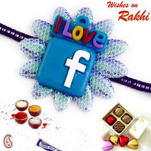Blue Colored Facebook Logo Kids Rakhi - RK17747