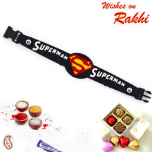 Smart Superman Black Wrist Band Kids Rakhi - RK17764
