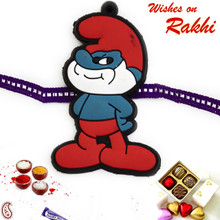 Red & Purple Smurf Kids Rakhi - RK17776