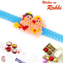 Cute Hanuman & Ganesh Talking on Mobile Kids Rakhi - RK17781