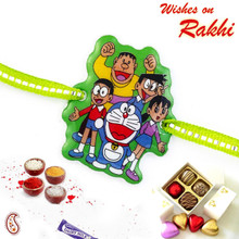 Sweet & Charming Doremon Family Green Band Kids Rakhi - RK17789