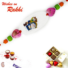 Pink Heart Shape Crystal Beads Doremon Kids Rakhi - RK17798