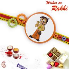 Floral Beads Chhota Bheem Kids Rakhi - RK17806
