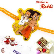 Lovely Hanuman & Chhota Bheem Kids Rakhi - RK17813