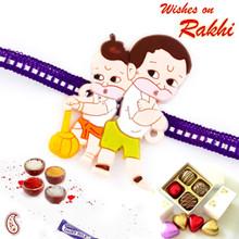 Lovely Purple Band Bal Hanuman Motif Kids Rakhi - RK17814