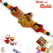 Colorful Beads Studded Bal Hanuman Kids Rakhi - RK17815
