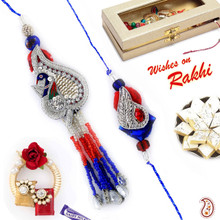Zardosi and Shell Beads Bhaiya Bhabhi Rakhi Set - RP17852