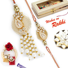 Jewellery Style AD Studded Bhaiya Bhabhi Rakhi Set - RP17855