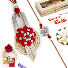 Pretty Shell Style Red Bhaiya Bhabhi Rakhi Set - RP17858