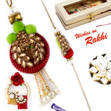 Golden Kundan Studded Beautiful Bhaiya Bhabhi Rakhi Set - RP17861