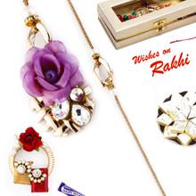 Rose & Loop Style Bhahiya Bhabhi Rakhi Set - RP17864