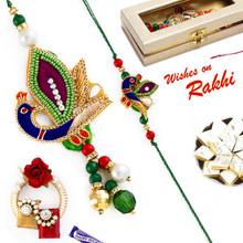 Awesome Peacock Style Zardosi Bhaiya Bhabhi Rakhi Set - RP17867