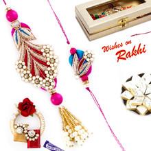 Pretty Pink & Blue Shade Zardosi Bhaiya Bhabhi Rakhi Set - RP17868