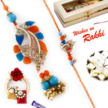 Pretty Orange & Blue Zardosi Work Bhaiya Bhabhi Rakhi Set - RP17869