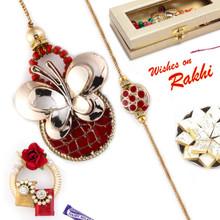 Golden Butterfly Style Bhaiya Bhabhi Rakhi Set - RP17870