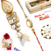 Golden Beads Feather Style Bhaiya Bhabhi Rakhi Set - RP17871
