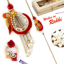 Pearl & AD Studded Red & Yellow Bhaiya Bhabhi Rakhi Set - RP17872