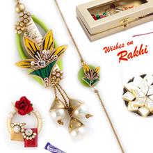 Yellow Green Bell Style Bhaiya Bhabhi Rakhi Set - RP17873