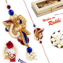 Multicolor Heavy Look Zardosi Work Bhaiya Bhabhi Rakhi Set - RP17874