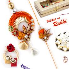 Pretty Shell Style Orange Bhaiya Bhabhi Rakhi Set - RP17875