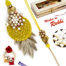Yellow Pearl, Zardozi & American Diamond Bhaiya Bhabhi Rakhi Set - RP17877