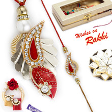 Crystal Clear Stone Studded Golden Bhaiya Bhabhi Rakhi Set - RP17878