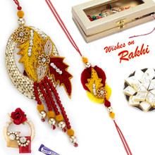 Beautiful Floral Zardosi Bhaiya Bhabhi Rakhi Set - RP17881