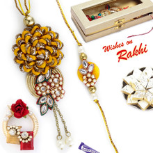 Superb Red Base Embellished Bhaiya Bhabhi Rakhi Set - RP17882