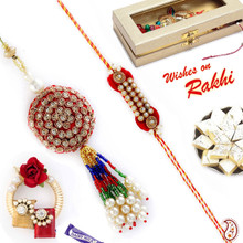 Zardosi and American Diamond Bhaiya Bhabhi Rakhi Set - RP17884