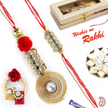 Spiral Metallic Bhaiya Bhabhi Rakhi Set with American Diamonds - RP17887