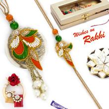 Orange & Green Zardosi Design Bhaiya Bhabhi Rakhi Set - RP17889
