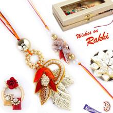 Zardosi and Metal foil Bhaiya Bhabhi Rakhi Set  - RP17893