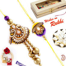 Traditional Kundan and Zardosi Bhaiya Bhabhi Rakhi Set  - RP17895