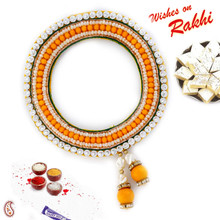Orange & White Beads Beautiful Chuda Lumba Rakhi - LM171103